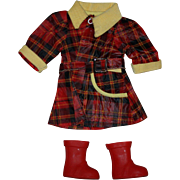 Raincoat and Boots for Hard Plastic Dolls 1950's - Red Tag Sale Item
