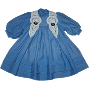 Blue Linen Dress for German or French Bisque Dolls