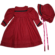 Burgundy Wool Dress and Bonnet for Bisque Dolls