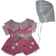 Pink Romper and Bonnet for Composition Toddlers 1930s
