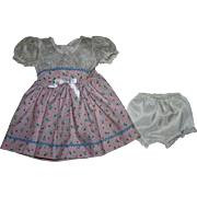 Organdy Eyelet and Cotton Dress for Hard Plastic Dolls 1950s