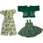 Jumpsuit and Two Piece Dress for Hard Plastic Dolls 1950s