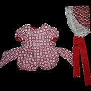 Romper and Bonnet for Composition Dolls 1930s