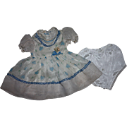 Blue and White Nylon Party Dress for Large Walkers such as Saucy Walker 1950s