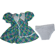 Green Plaid Dress and Underwear for Hard Plastic Dolls 1950