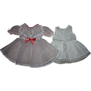 Organdy Pink and White Dotted Organdy Dress for Large Hard Plastic Dolls 1950s