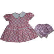 Pink Plaid Dress for Hard Plastic Dolls 1950s