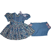 Blue Print Doll Dress and Underwear for Hard Plastic Dolls 1950s