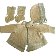 Sweater, Bonnet, and Booties for Large Bisque, Composition, or Vinyl Dolls 1930