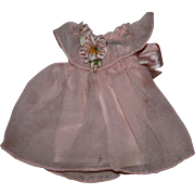 Peach Crepe Doll Dress for Small Bisque Dolls 1930