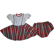Two Piece Pique and Cotton Dress and Underwear for Hard Plastic and Composition Dolls 1950s