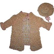 Two Piece Peach Wool and Silk Sweater Set for Composition and Bisque Dolls 1920s