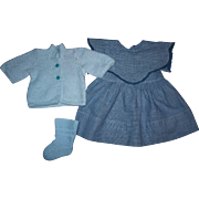 Doll Dress, Sweater, and Booties for Baby Dolls such as Dy-Dee Louise and Mama Dolls 1940