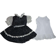 Navy and White Dotted Swiss Dress and Slip for Hard Plastic Dolls