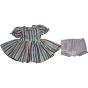 Candy-Striped Doll Dress and Underwear for Shirley Temple 1955