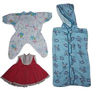 Dress, Drop-Drawer Pajamas, and Bunting Bag for Dy-Dee Baby Doll and Friends 1950s