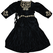 Antique Black Silk and Taffeta Doll Dress for French or German Bisque