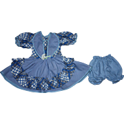 Blue and White Doll Dress for Hard Plastic Dolls such as Ideal Toni