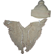 Shawl Style Doll Bed Jacket for Antique or Composition Dolls