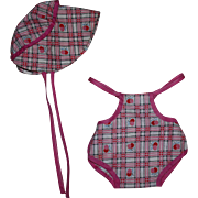 Sunsuit and Matching Doll Bonnet for Composition Toddler Dolls