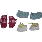 Three Pairs Vintage Booties for Big Dolls