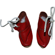 Red Leather Doll Shoes for Tiny Dolls, fits Effanbee Patsyette