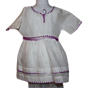 Sweet Batiste Doll Dress with Embroidery Accents for Composition Dolls