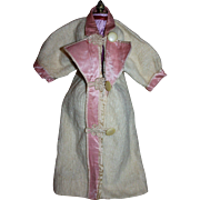 Antique Wool and Satin Doll Coat for French or German Bisque Dolls
