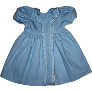 Blue Cotton Factory Doll Dress for Large Baby Dolls 1950s