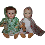 Two Colorful Doll Raincoats for Dy-Dee and Friends 1950s