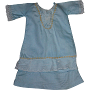 Blue Doll Dress with Lace for French or German Bisque 1900