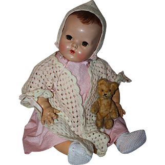 Pink and White Doll Sweater Set for Big Baby Dolls 1930  Pink and White Doll Sweater Set for Big Baby Dolls 1930