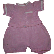 Drop-Drawer Pink Gingham Romper 1920  Drop-Drawer Pink Gingham Baby Doll Romper 1920