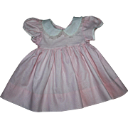 Pink Pique Doll Dress for Large Babies 1950s