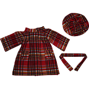 Red Plaid Doll Coat and Hat for Hard Plastic and Composition Dolls 1940