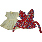 Doll Dress and Pinafore for Hard Plastic Dolls 1950s