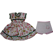 Floral Doll Dress and Underwear for Hard Plastic Dolls 1950s