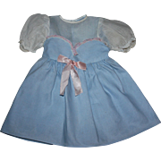 Blue Pique Baby Doll Dress Large Babies 1950s