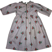 Pink pique floral doll dress for large dolls 1950s