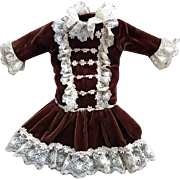 Lovely Brown Velvet Dropped Waist Doll Dress