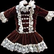 Lovely Brown Velvet Dropped Waist Doll Dress