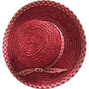 Red Straw Arranbee Hat 1950s