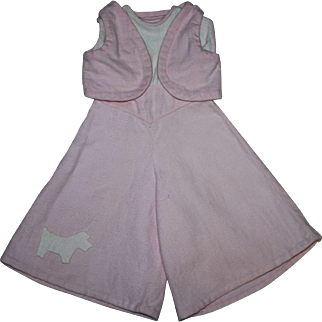 Two Piece Pink and White Jumpsuit with Scotty Dog for Patsy Ann and Friends 1930s
