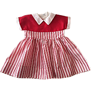 Red and White Taffeta Factory Dress for Large Walkers Dolls 1950s Un-used