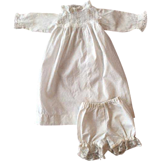 Antique Doll Dress and Bloomers for German or French Bisque