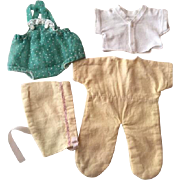 Pajamas with Bonnet, Sunsuit for Dydee Baby and Tiny Tears Dolls 1950