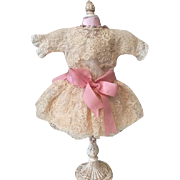 Beautiful French Tulle Lace Doll Dress for French or German Bisque Dolls