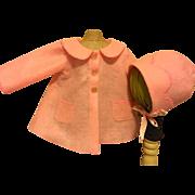 Pink Felt Coat and Doll Bonnet for Hard Plastic and Composition Dolls