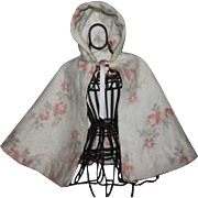 Beautiful Eiderdown Floral Doll Cape 1940s
