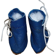 Blue Leather Shoes for Tiny Bisque and also fits Patsyette
